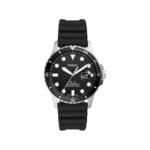 Fossil Men's FB-01 Three-Hand Date Black Silicone Watch Product Image