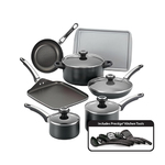 17pc High Performance Nonstick Cookware Set Black Product Image