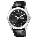 Mens Quartz Eco-Drive Black Leather Strap Watch Black Dial Product Image