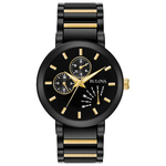 Mens Classic Black Ion-Plated Stainless Steel Watch Black/Gold Dial Product Image
