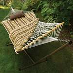 Cotton Rope Hammock w/ Stand, Pad & Pillow, Green/Tan Stripe Product Image