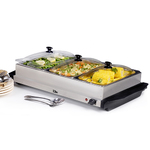7.5qt Stainless Steel Triple Buffet Server/Warming Plate Product Image