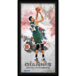 Giannis Antetokounmpo Milwaukee Bucks Player Profile Framed 10x20 Photo Collage w/Game Used Basketball Piece Product Image