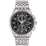 Mens World Chronograph A-T Eco-Drive Watch Black Dial Product Image