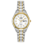 Ladies Silhouette Sport Eco-Drive Two-Tone Watch White Dial Product Image