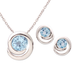 Silver Swirl Blue Topaz Earring & Necklace Set Product Image