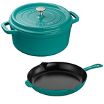 3pc Cast Iron Cocotte and Fry Pan Set Turquoise Product Image