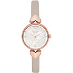 Ladies Hollis Rose Gold & Taupe Leather Strap Watch Mother-of-Parl Dial Product Image
