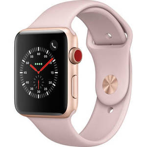 Watch Series 3 42mm Smartwatch (GPS + Cellular, Gold Aluminum Case, Pink Sand Sport Band) Product Image