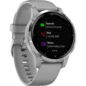 vivoactive 4S Smartwatch (40mm, Silver Stainless Steel Bezel/Powder Gray Case, Silicone Band) Product Image