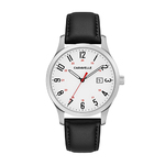 Mens Numeral Silver-Tone Case Black Leather Strap Watch White Dial Product Image