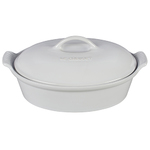 Heritage 2.5Qt Stoneware Covered Oval Casserole White Product Image