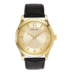 Mens Corporate Collection Black Leather Strap Watch Gold Dial Product Image