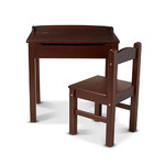 Kids Wooden Lift-Top Desk & Chair Espresso Product Image