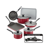 17pc High Performance Nonstick Cookware Set Red Product Image