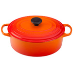 5qt Signature Cast Iron Oval Dutch Oven Flame Product Image