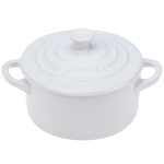 8oz Stoneware Mini Round Cocotte White Product Image