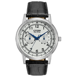 Mens Dress Eco-Drive Black Leather Strap Watch White Dial Product Image