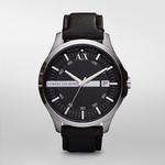 Mens Whitman Black Leather Strap Watch Black Dial Product Image