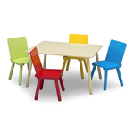 5pc Kids Table and Chairs Set Natural/Primary Product Image