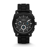 Mens Machine Chronograph Black Silicone Watch Product Image