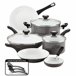 12pc Purecook Ceramic Nonstick Cookware Gray Product Image