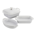4pc Ceramic Baking Dish Set White Product Image