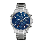 Mens Marine Star Silver-Tone Stainless Steel Watch Blue Dial Product Image
