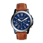 Mens Grant Chronograph Brown Leather Strap Watch Blue Dial Product Image