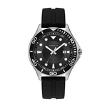 Mens Black Silicone Strap Drivers Watch Black Dial Product Image